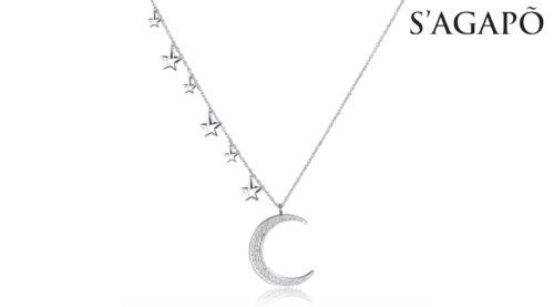 Collana Collana New Moon S'Agapò SNM03 in acciao 316l con pendente a forma di luna con cristalli bianchi e stelle acciaio.