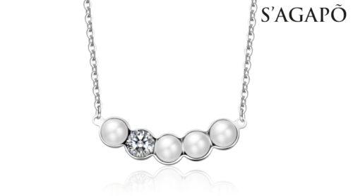 Collana Marilyn S'Agapò SMY01 in acciaio 316L con perle e cristallo bianco.