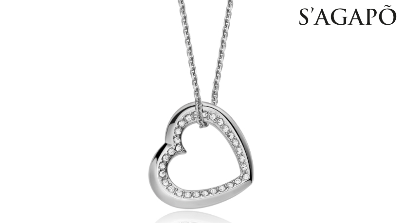 Collana Memories S'Agapò SMS03 in acciaio 316L con pendente a forma di cuore e cristalli bianchi. Ideale come regalo per le vostre amate donne