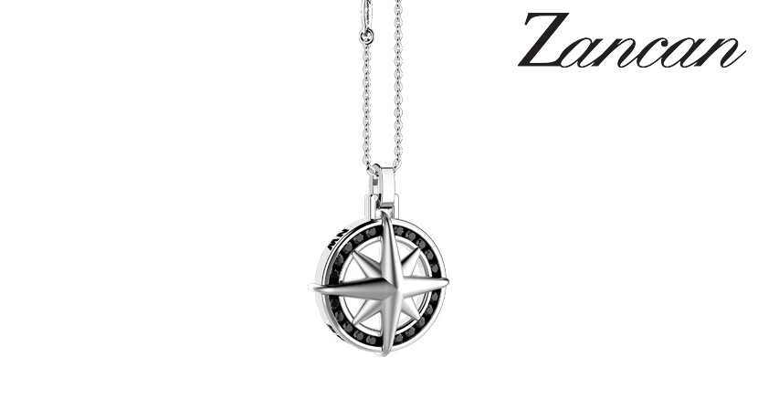 Collana da uomo in argento con pendente Rosa dei Venti gioielli Zancan. Catena in argento 925/000 di colore silver a finitura lucida, maglia rolò