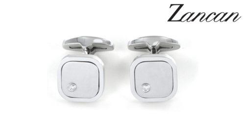 Gemelli Zancan in acciaio e zaffiri bianchi EHG041. Gemelli da uomo in acciaio 316L ipoallergenico e dettaglio in acciaio satinato. Dimensioni della parte frontale dei gemelli 15x15 mm. Gemelli Zancan da uomo in acciaio - Gioielli Zancan made in Italy