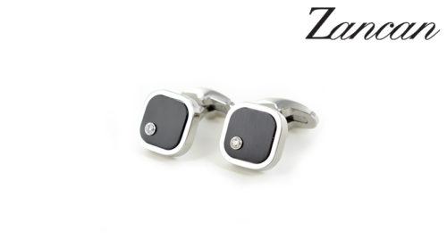 Gemelli Zancan in acciaio e zaffiri bianchi EHG043. Gemelli da uomo in acciaio 316L ipoallergenico e dettaglio in acciaio PVD nero.