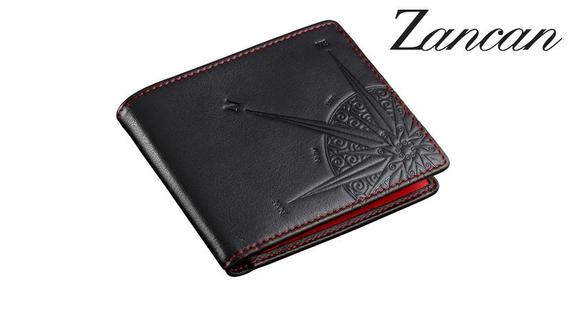Portafoglio Zancan HPL026 da uomo in vera pelle di colore nero con cuciture di colore rosso acceso.