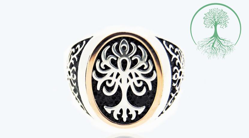 Anello misura grande (testa ovale 19X9,5 mm) in Oro 9 Kt e Argento 925 realizzato e distribuito da Albero della Vita 925.