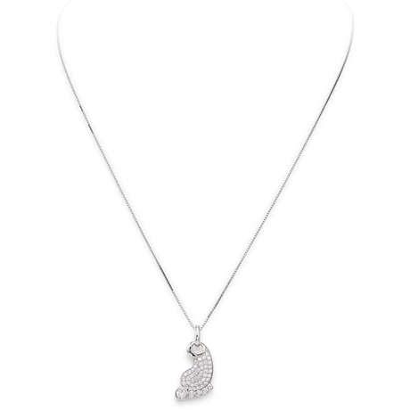 Collana Amen donna CLFO. Collana della collezione Cuore di mamma, in argento 925 con pendente a forma di piede di neonato con zirconi bianchi.