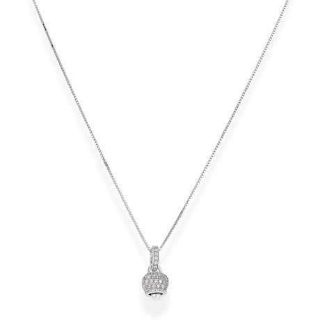 Collana Amen donna CLPSBZBB. Collana in argento 925 di colore silver con pendente a forma di campana con zirconi di colore bianco e perla.