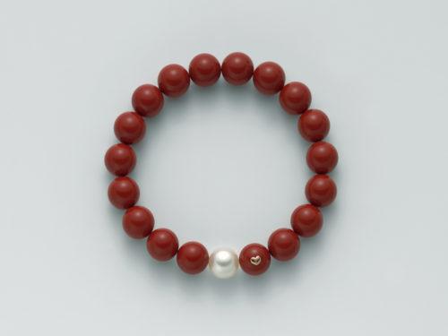 Bracciale Yukiko Terra e Mare donna PBR1800Yin argento 925/1000 con perla orientale e perle di colore corallo rosso.
