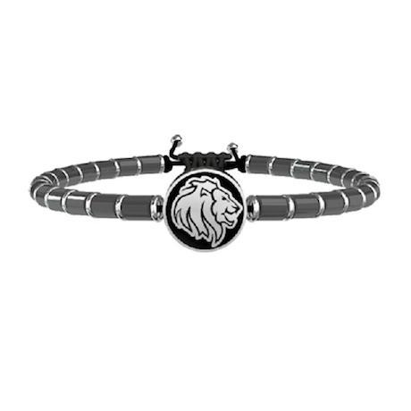 Bracciale Kidult Animal Planet Leone 731508 in acciaio inossidabile di colore silver con ematite grigia.