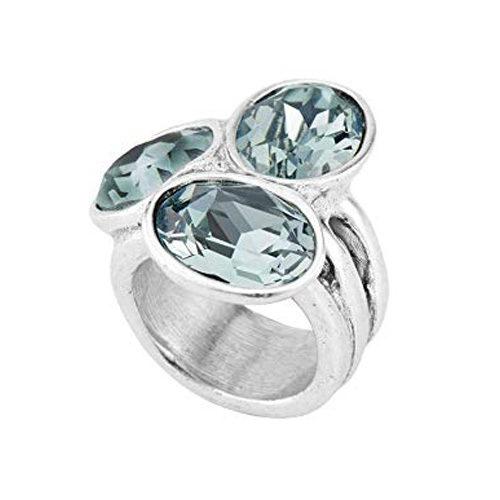 Anello Donna Uno de 50 Treasure ANI0591AZUMTLXL in metallo placcato argento con tre cristalli verdi.