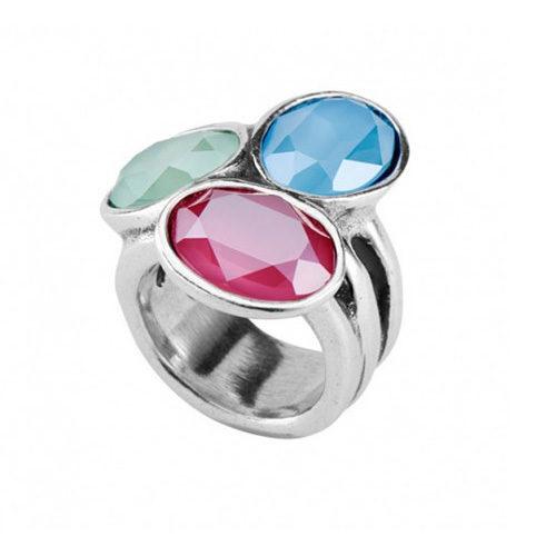 """Anello Donna Uno de 50 Tesoro ANI0591MCLMTLXLcon tre cristalli Swarovski di colore verde, rosa e azzurro, in bagno d'argento, della collezione """"Treasure""""."""