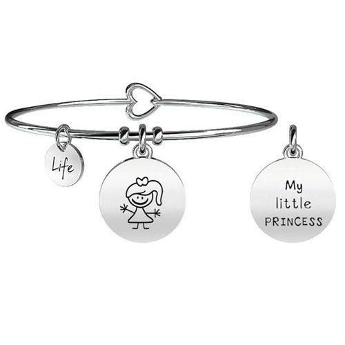 """Bracciale Kidult Family donna 231570 in acciaio inossidabile silver e pendente con bimba e scritta:""""My little princess""""."""