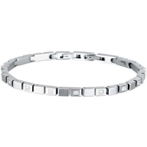 Bracciale Uomo 2Jewels collezione Brick 231814 in acciaio, pvd e zirconi bianchi. Lunghezza bracciale 21 cm