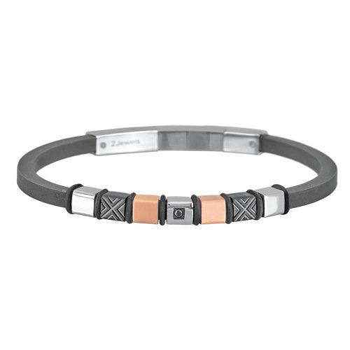 Bracciale Uomo 2Jewels collezione Elements231847 in acciaio, pvd nero e rosè, silicone e zirconi. Lunghezza bracciale 21 cm