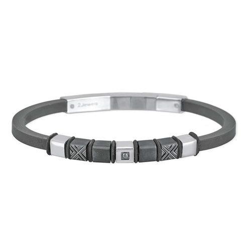 Bracciale Uomo 2Jewels collezione Elements 231848 in acciaio, pvd nero, silicone e zirconi. Lunghezza bracciale 21 cm