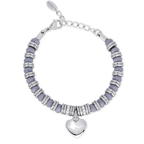 Bracciale Donna 2Jewels collezione Color Match 232039 in acciaio 316L, vetro grigio e ciondolo cuore con cristalli. Lunghezza 19 cm.