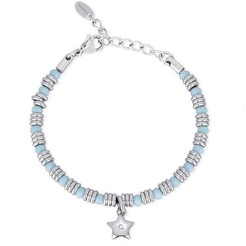 Bracciale Donna 2Jewels collezione Color Match 232043 in acciaio 316L, vetro azzurro e ciondolo stella con cristalli. Lunghezza 19 cm.
