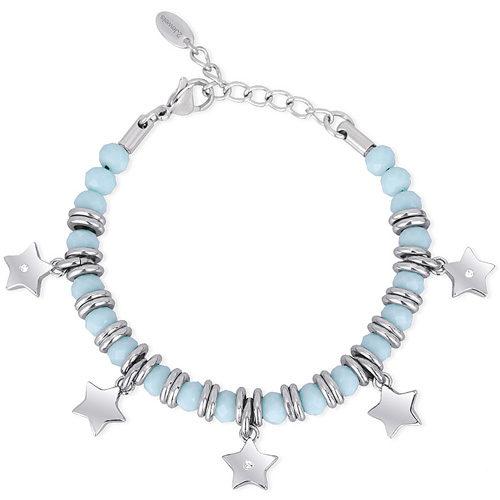 Bracciale Donna 2Jewels collezione Color Match 232045 in acciaio 316L, vetro azzurro e ciondolo stella con cristalli. Lunghezza 19 cm.