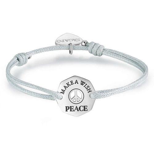 """Bracciale Donna Sagapò collezione Make a Wish SMW13 in cordoncino con inserto in acciaio """"Pace"""". Lunghezza 240 mm"""