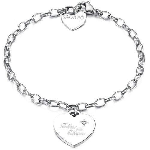 Bracciale Donna Sagapò collezione Be My Always SBM14 in acciaio con cuore pendente e cristalli. Lunghezza 185 mm.