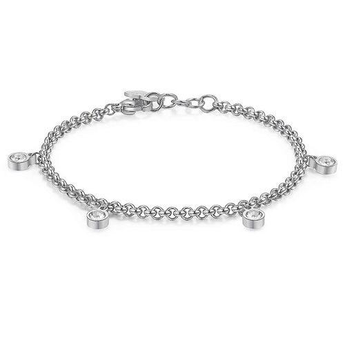 Bracciale Donna Sagapò collezione Luce SCE11 in acciaio 316L con pendenti Swarowski Cristal White.