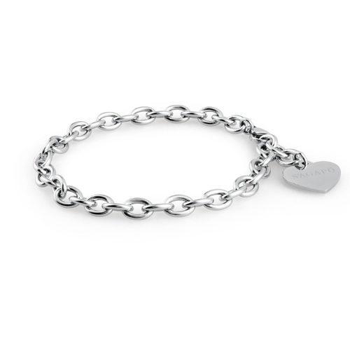 Bracciale donna Sagapò collezione Happy SHAC2 realizzato in acciaio 316L con pendente a forma di cuore. Lunghezza bracciale 215 mm.