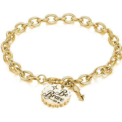 """Bracciale Donna Sagapò collezione Happy SHAM17 in acciaio e pvd gold con inciso """"Be Brave"""". Lunghezza 20 cm."""