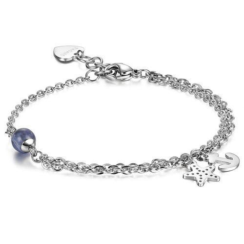 Bracciale Donna Sagapò collezione Haiti SHT23 in acciaio 316L e pietra naturale colore blu con pendenti a forma di stella marina e ancora. Lunghezza bracciale 185 mm.