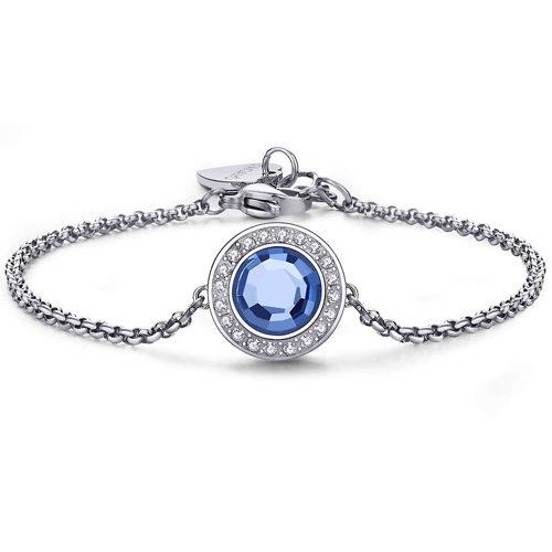 Bracciale Donna Sagapò collezione Luna SLU11 in acciaio in acciaio con cristalli Light Sapphire. Lunghezza 195 mm.