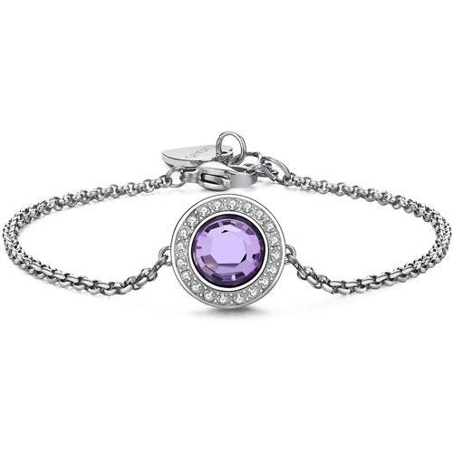 Bracciale Donna Sagapò collezione Luna SLU14 in acciaio in acciaio con cristalli Violet. Lunghezza 195 mm.