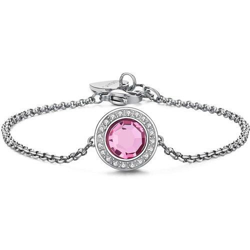 Bracciale Donna Sagapò collezione Luna SLU17 in acciaio in acciaio con cristalli Rosa. Lunghezza 195 mm.