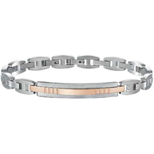 Bracciale Uomo Sector Energy SZR13 realizzato in acciaio colore argento e oro rosa. Lunghezza 22 cm.