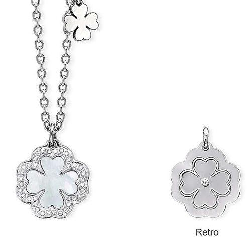 Collana Donna 2Jewels collezione Stéphanie 231593 in acciaio 316L e cristalli, con pendente a forma di quadrifoglio. Lunghezza 45 cm.