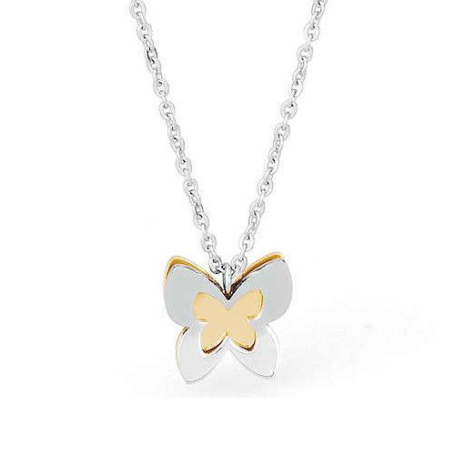 Bracciale Donna Sagapò collezione Butterfly SBF02 in acciaio 316L, con farfalla pendente fronte acciaio, retro pvd gold. Lunghezza 230 mm.