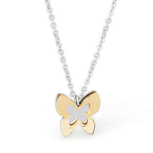 Bracciale Donna Sagapò collezione Butterfly SBF03 in acciaio 316L, con farfalla pendente esterno acciaio pvd gold, interno acciaio. Lunghezza 230 mm.