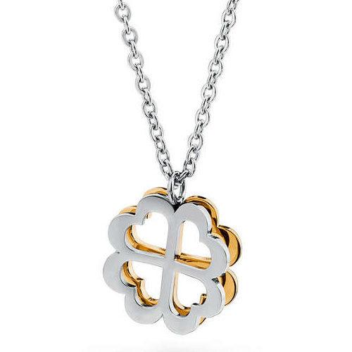 Collana Donna Sagapò collezione Butterfly SBF10 in acciaio 316L con quadrifoglio pendente traforato e retro in pvd oro.