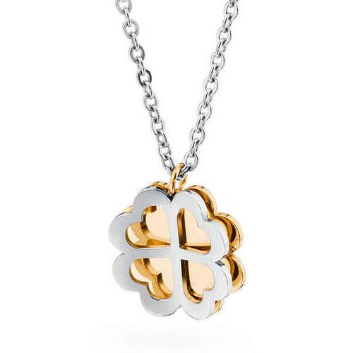 Collana Donna Sagapò collezione Butterfly SBF18 in acciaio 316L con quadrifoglio pendente traforato e retro piatto in pvd oro.