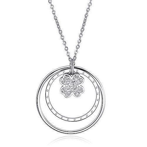 Collana Donna Sagapò collezione Lucy SCY02 in acciaio con pendente con quadrifoglio e cerchi con cristalli. Lunghezza 750 mm.