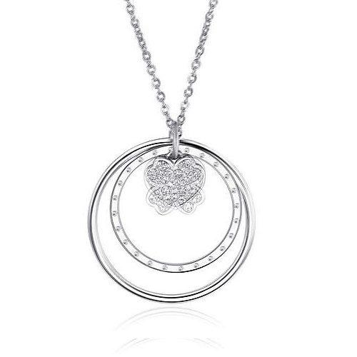 Collana Donna Sagapò collezione Lucy SCY02 in acciaio con pendente con cuore e cerchi con cristalli. Lunghezza 750 mm.