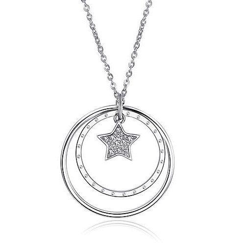 Collana Donna Sagapò collezione Lucy SCY03 in acciaio con pendente con cuore e cerchi con cristalli. Lunghezza 750 mm.