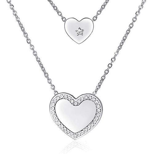Collana Donna Sagapò collezione Echo SEH01 in acciaio 316L a due fili con pendenti a forma di cuore e cristalli bianchi.