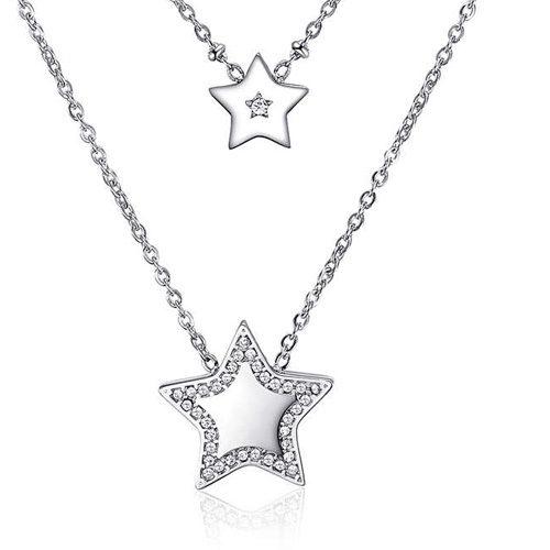 Collana Donna Sagapò collezione Echo SEH02 in acciaio 316L a due fili con pendenti a forma di stella e cristalli bianchi.