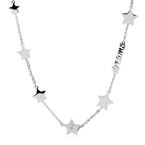"""Collana Donna Sagapò SFC07 collezione Fancy in acciaio con stelle e scritta """"Dreams"""". Lunghezza 445 mm."""