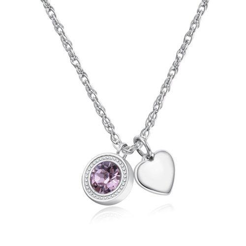 Collana Donna Sagapò collezione Lucky Light SKT01 modello girocollo in acciaio 316L con cristallo Swarovski Light Rose e pendente a forma di cuore. Lunghezza collana 440 mm.
