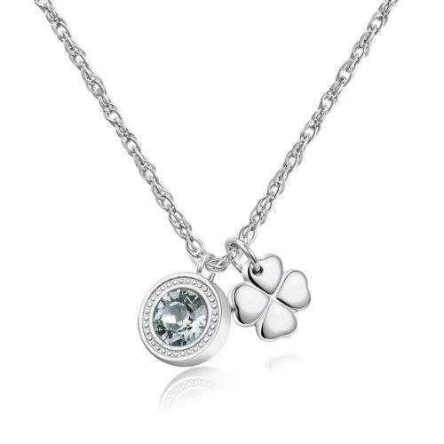 Collana Donna Sagapò collezione Lucky Light SKT02 modello girocollo in acciaio 316L con cristallo Swarovski Chrysolite e pendente a forma di quadrifoglio. Lunghezza collana 440 mm.