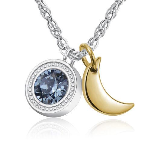 Collna donna Sagapò collezione Lucky Light SKT04 modello girocollo in acciaio 316L con cristallo Swarovski Indian Sapphire e pendente a forma di luna in pvd oro. Lunghezza 440 mm.