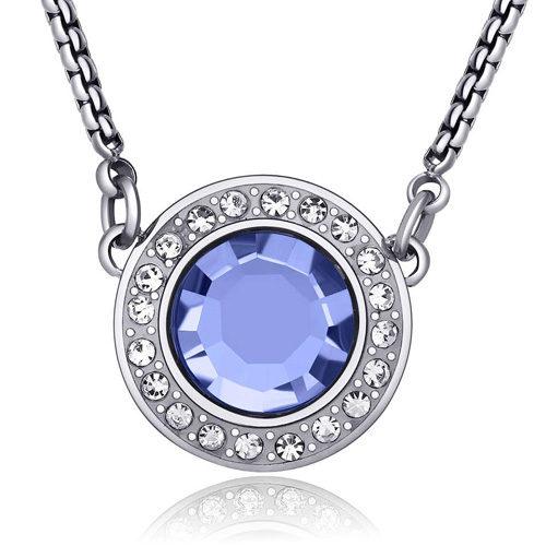 Collana Donna Sagapò collezione Luna SLU01 in acciaio con pendente in acciaio e cristalli Light Sapphire. Lunghezza 470 mm.