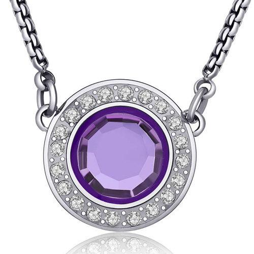 Collana Donna Sagapò collezione Luna SLU02 in acciaio con pendente in acciaio e cristalli Violet. Lunghezza 470 mm.