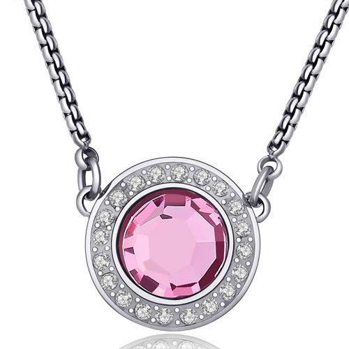 Collana Donna Sagapò collezione Luna SLU03 in acciaio con pendente in acciaio e cristalli Rosa. Lunghezza 470 mm.