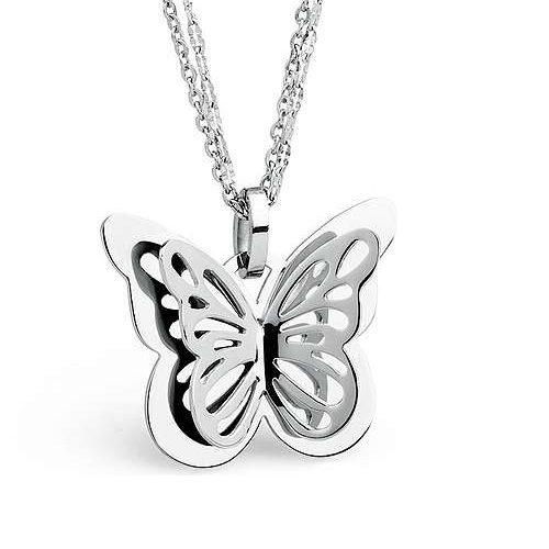 Collana Mariposa S'Agapò SMP04 in acciaio 316L, catena doppia e pendente a forma di farfalla. Lunghezza 650 mm