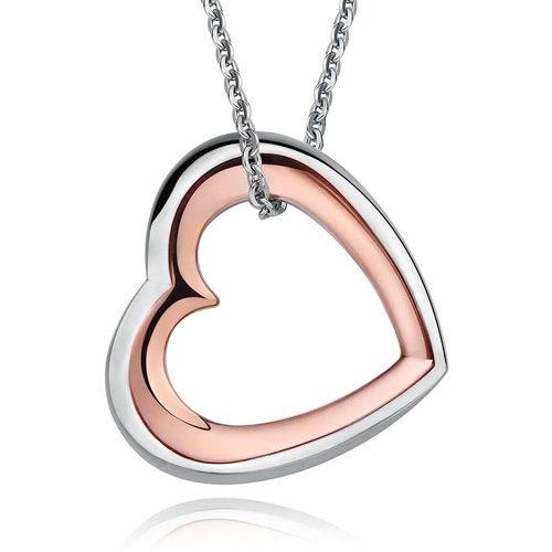 Collana Memories S'Agapò SMS02 in acciaio 316L con pendente a forma di cuore in acciaio e pvd oro.